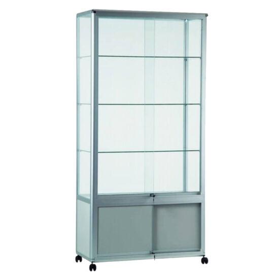 Zárható üvegezett széles állóvitrin
